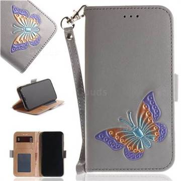 Imprint Embossing Butterfly Leather Wallet Case for iPhone X(5.8 inch) - Grey