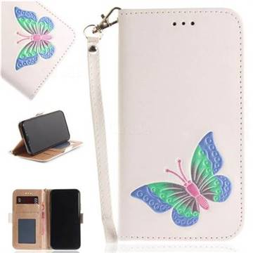 Imprint Embossing Butterfly Leather Wallet Case for iPhone X(5.8 inch) - White