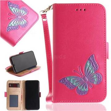 Imprint Embossing Butterfly Leather Wallet Case for iPhone X(5.8 inch) - Rose Red