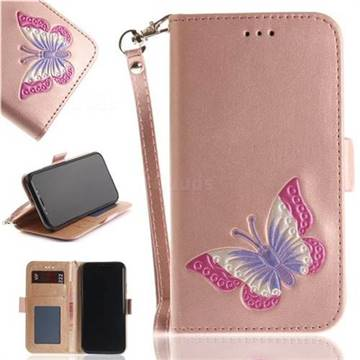 Imprint Embossing Butterfly Leather Wallet Case for iPhone X(5.8 inch) - Rose Gold