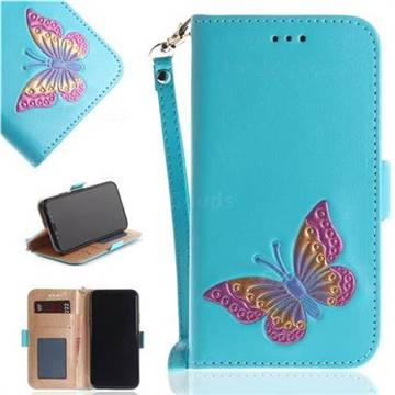 Imprint Embossing Butterfly Leather Wallet Case for iPhone X(5.8 inch) - Sky Blue