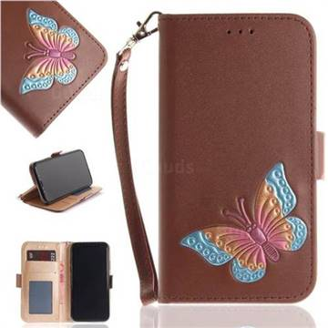 Imprint Embossing Butterfly Leather Wallet Case for iPhone X(5.8 inch) - Brown