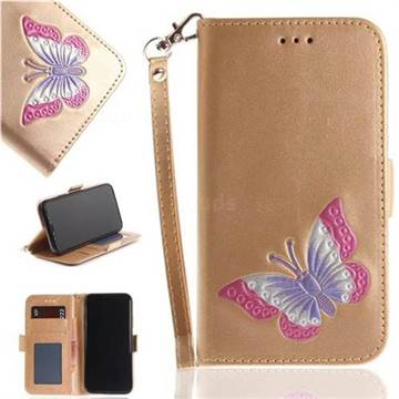 Imprint Embossing Butterfly Leather Wallet Case for iPhone X(5.8 inch) - Golden