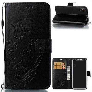 Embossing Butterfly Flower Leather Wallet Case for iPhone X(5.8 inch) - Black