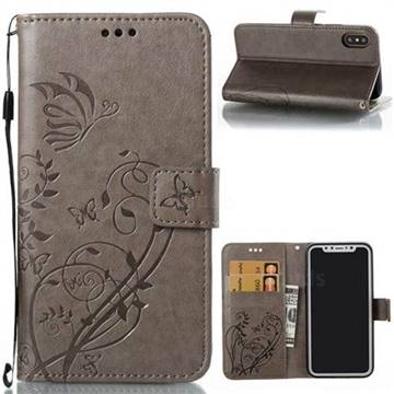 Embossing Butterfly Flower Leather Wallet Case for iPhone X(5.8 inch) - Grey