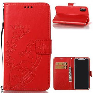 Embossing Butterfly Flower Leather Wallet Case for iPhone X(5.8 inch) - Red