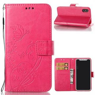 Embossing Butterfly Flower Leather Wallet Case for iPhone X(5.8 inch) - Rose