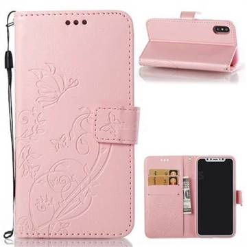 Embossing Butterfly Flower Leather Wallet Case for iPhone X(5.8 inch) - Pink