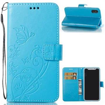 Embossing Butterfly Flower Leather Wallet Case for iPhone X(5.8 inch) - Blue