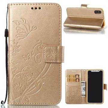 Embossing Butterfly Flower Leather Wallet Case for iPhone X(5.8 inch) - Champagne