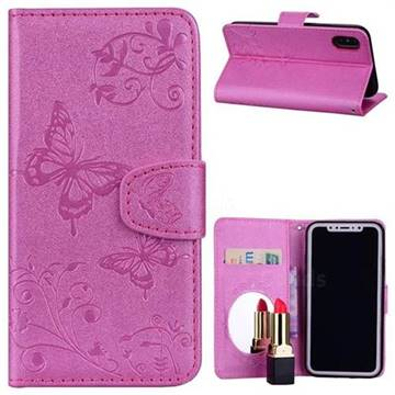 Embossing Butterfly Morning Glory Mirror Leather Wallet Case for iPhone X(5.8 inch) - Rose