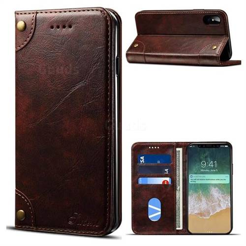 Retro Classic Minimalist PU Leather Wallet Case for iPhone X(5.8 inch) - Dark Brown