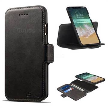 reputable site 9e266 aec2b Suteni Retro 2 in 1 Separable Luxury Leather Wallet Phone Case for iPhone  X(5.8 inch) - Black - Leather Case - Guuds
