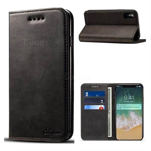 Suteni Simple Style Calf Stripe Leather Wallet Phone Case for iPhone X(5.8 inch) - Black
