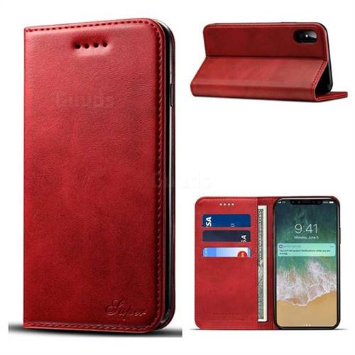 Suteni Simple Style Calf Stripe Leather Wallet Phone Case for iPhone X(5.8 inch) - Red