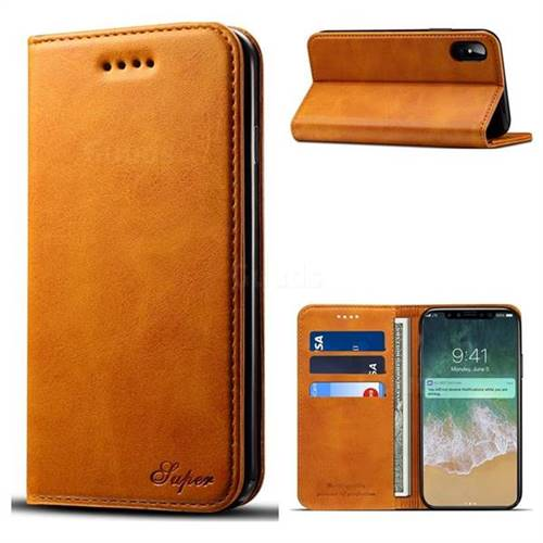 Suteni Simple Style Calf Stripe Leather Wallet Phone Case for iPhone X(5.8 inch) - Khaki