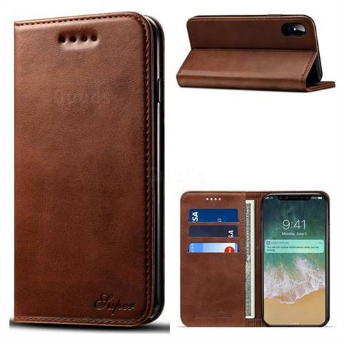 Suteni Simple Style Calf Stripe Leather Wallet Phone Case for iPhone X(5.8 inch) - Brown
