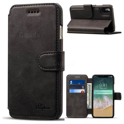 Calf Stripe Leather Wallet Flip Case for iPhone X(5.8 inch) - Black