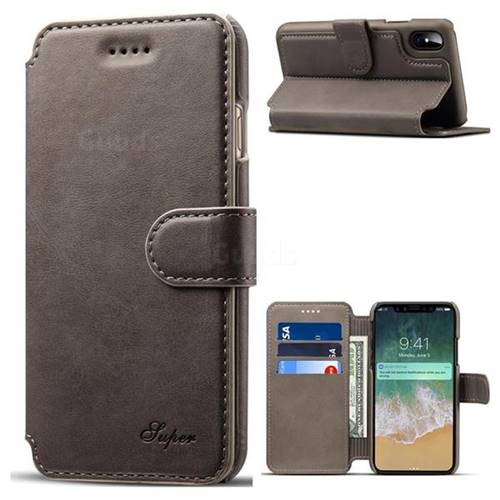 Suteni Calf Stripe Leather Wallet Flip Phone Case for iPhone X(5.8 inch) - Gray