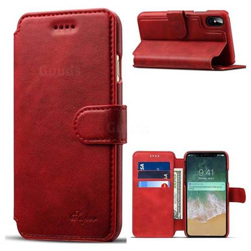 Suteni Calf Stripe Leather Wallet Flip Phone Case for iPhone X(5.8 inch) - Red