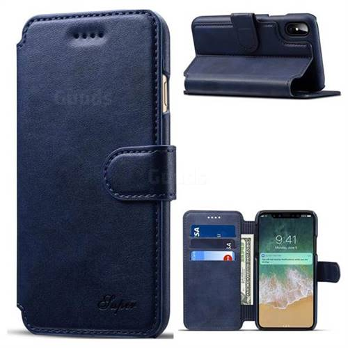 Suteni Calf Stripe Leather Wallet Flip Phone Case for iPhone X(5.8 inch) - Blue