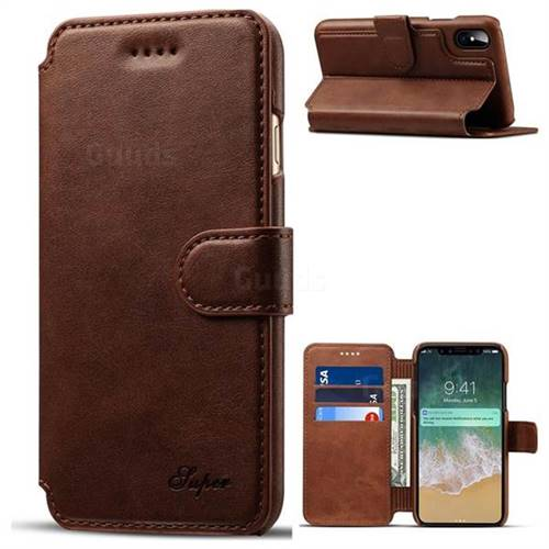 Suteni Calf Stripe Leather Wallet Flip Phone Case for iPhone X(5.8 inch) - Brown