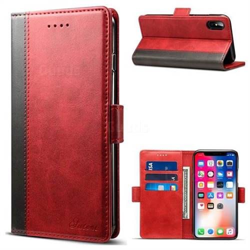 Calf Stripe Dual Color Leather Wallet Flip Case for iPhone X(5.8 inch) - Red