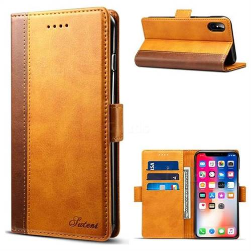 Suteni Calf Stripe Dual Color Leather Wallet Flip Case for iPhone X(5.8 inch) - Khaki