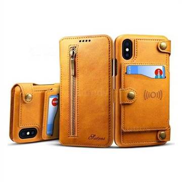 Retro 2 in 1 Separable Metal Zipper Buttons PU Leather Wallet Case for iPhone X(5.8 inch) - Khaki