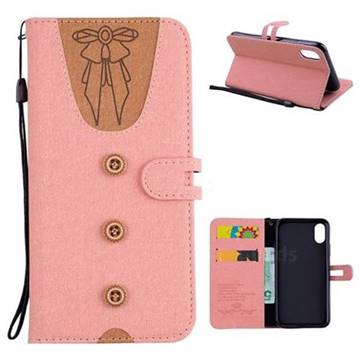 Ladies Bow Clothes Pattern Leather Wallet Phone Case for iPhone X(5.8 inch) - Pink