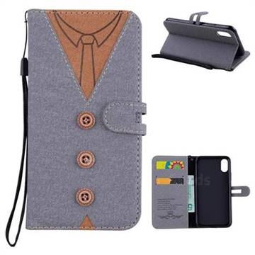Mens Button Clothing Style Leather Wallet Phone Case for iPhone X(5.8 inch) - Gray