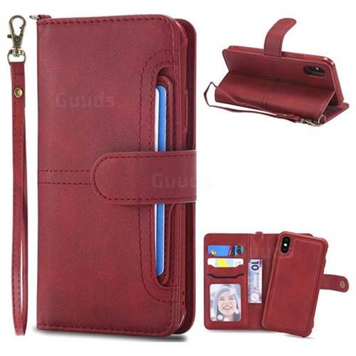 Retro Multi-functional Aristocratic Demeanor Detachable Leather Wallet Phone Case for iPhone X(5.8 inch) - Red