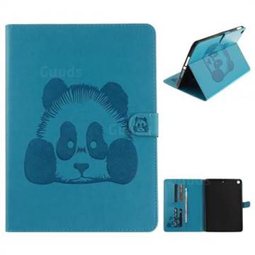 Embossing 3D Panda Leather Wallet Case for iPad Pro 9.7 2017 9.7 inch - Blue