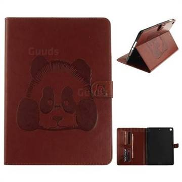 Embossing 3D Panda Leather Wallet Case for iPad Pro 9.7 2017 9.7 inch - Coffee