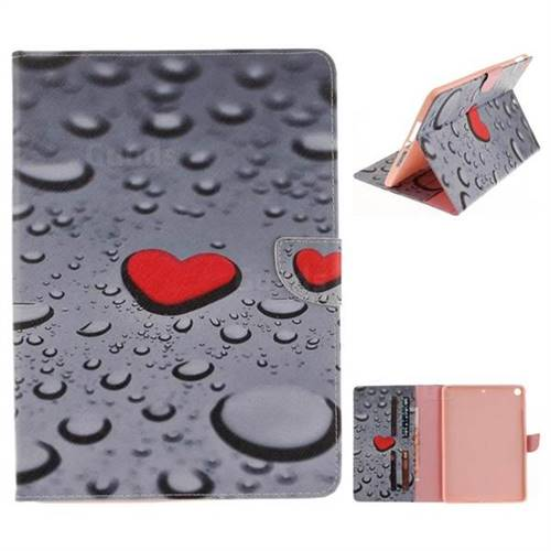 Heart Raindrop Painting Tablet Leather Wallet Flip Cover for iPad Pro 9.7 2017 9.7 inch