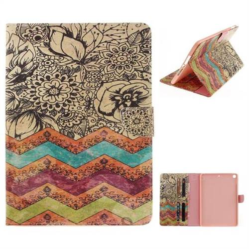 Wave Flower Painting Tablet Leather Wallet Flip Cover for iPad Pro 9.7 2017 9.7 inch