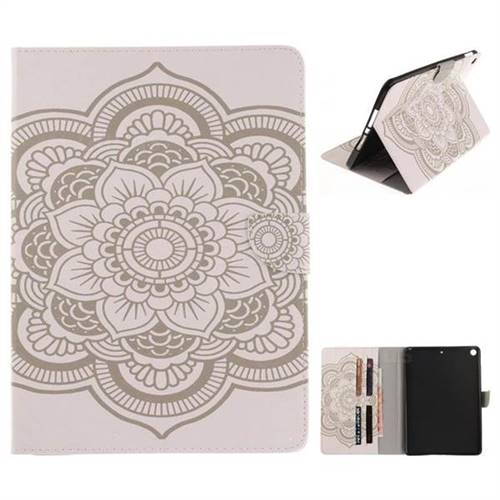 White Flowers Painting Tablet Leather Wallet Flip Cover for iPad Pro 9.7 2017 9.7 inch