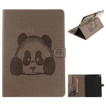 Embossing 3D Panda Leather Wallet Case for iPad Pro 10.5 - Gray