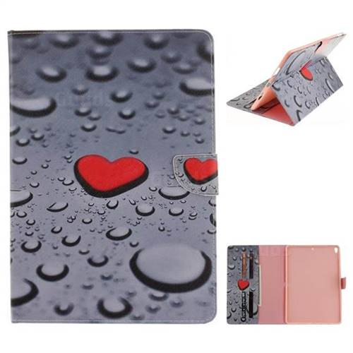 Heart Raindrop Painting Tablet Leather Wallet Flip Cover for iPad Pro 10.5