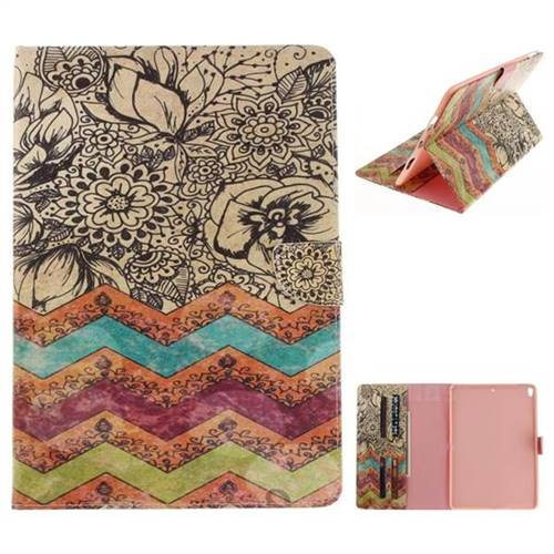 Wave Flower Painting Tablet Leather Wallet Flip Cover for iPad Pro 10.5