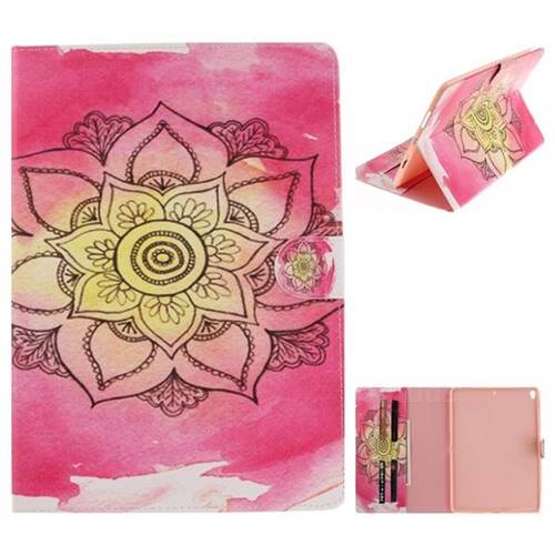 Pink Rose Painting Tablet Leather Wallet Flip Cover for iPad Pro 10.5