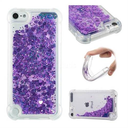 Dynamic Liquid Glitter Sand Quicksand Star TPU Case for iPod Touch 5 6 - Purple