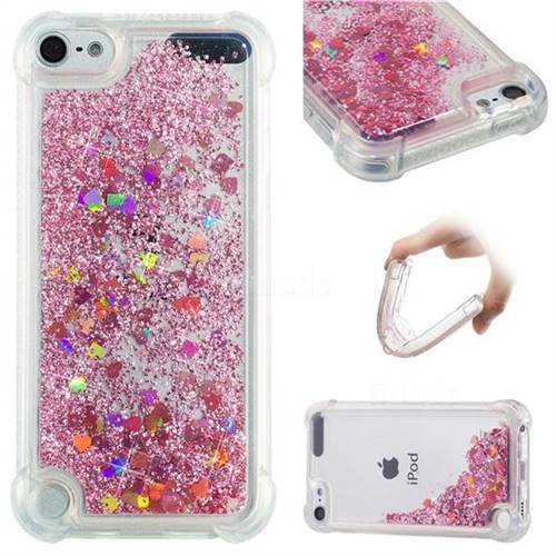 Dynamic Liquid Glitter Sand Quicksand Star TPU Case for iPod Touch 5 6 - Diamond Rose
