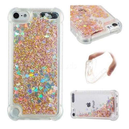 Dynamic Liquid Glitter Sand Quicksand Star TPU Case for iPod Touch 5 6 - Diamond Gold
