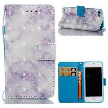 Green Gray Marble 3D Painted Leather Wallet Case for iPod Touch 5 6