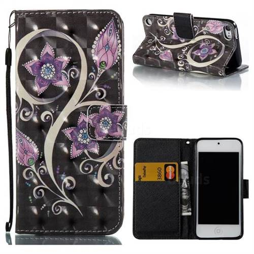 Peacock Flower 3D Painted Leather Wallet Case for iPod Touch 5 6