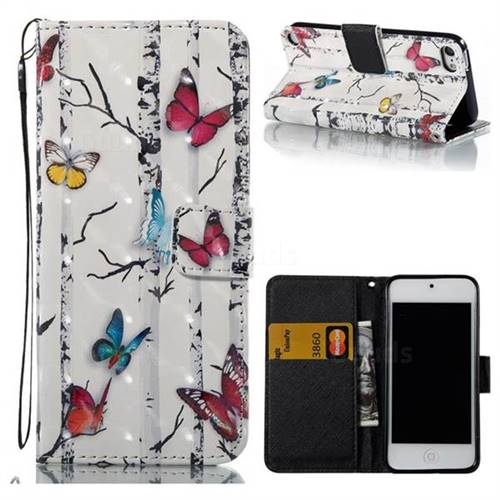 Colored Butterflies 3D Painted Leather Wallet Case for iPod Touch 5 6