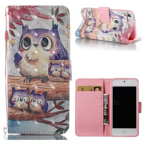 Purple Owl 3D Painted Leather Wallet Case for iPod Touch 5 6