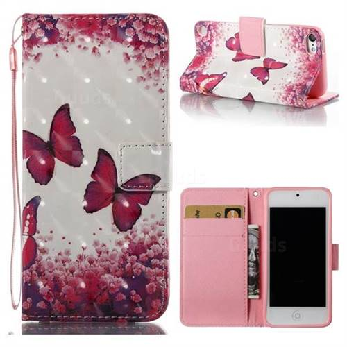 Rose Butterfly 3D Painted Leather Wallet Case for iPod Touch 5 6
