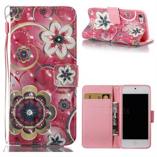 Tulip Flower 3D Painted Leather Wallet Case for iPod Touch 5 6
